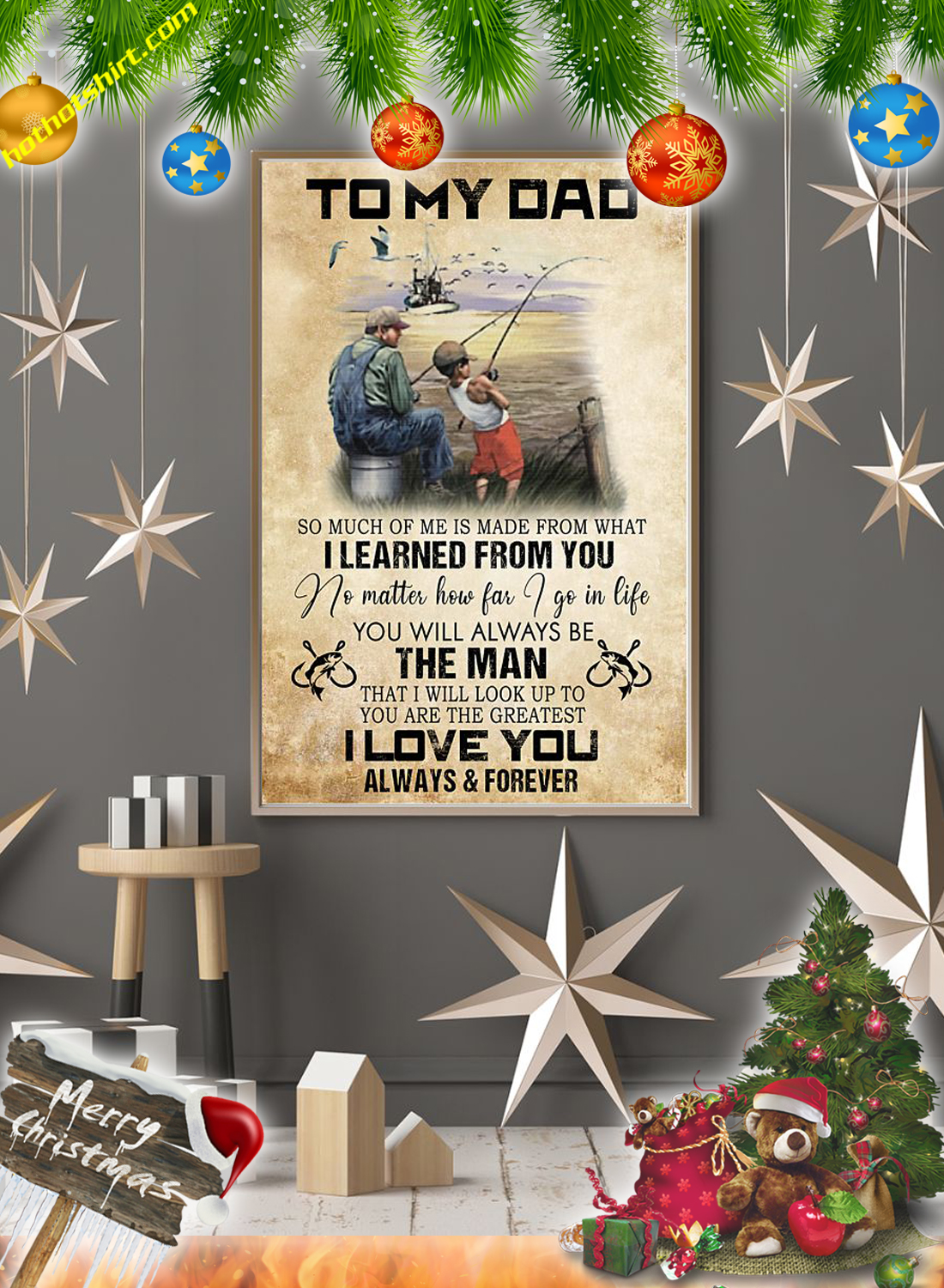 Fishing To my dad canvas prints and poster 3