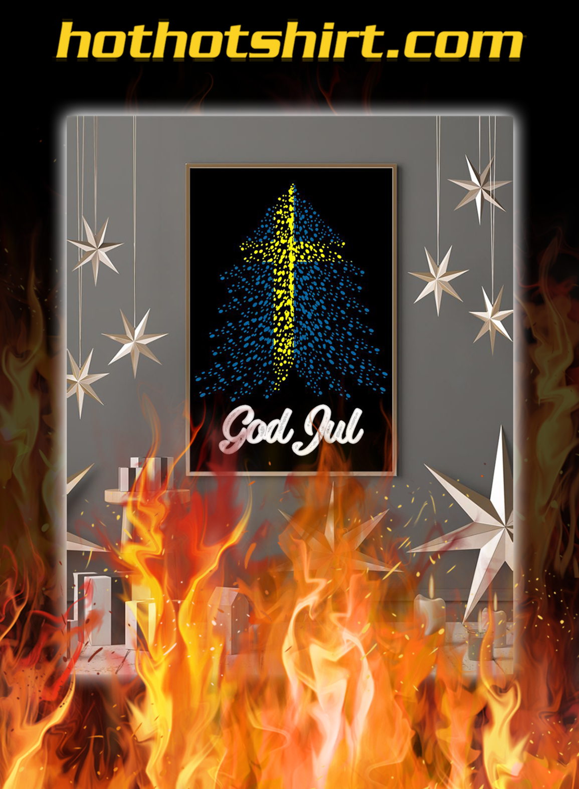 God jul sweden flag tree poster- A1