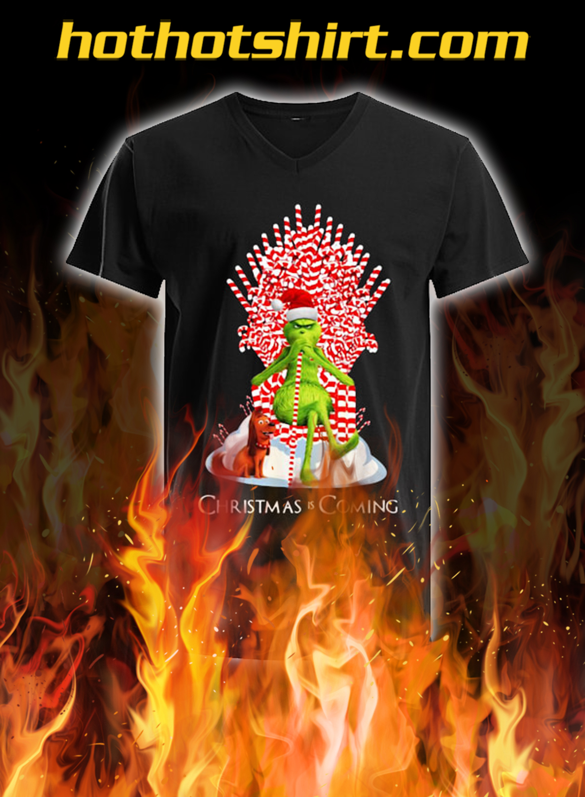 Grinch Christmas Is Coming Candy Cane Throne Christmas v-neck
