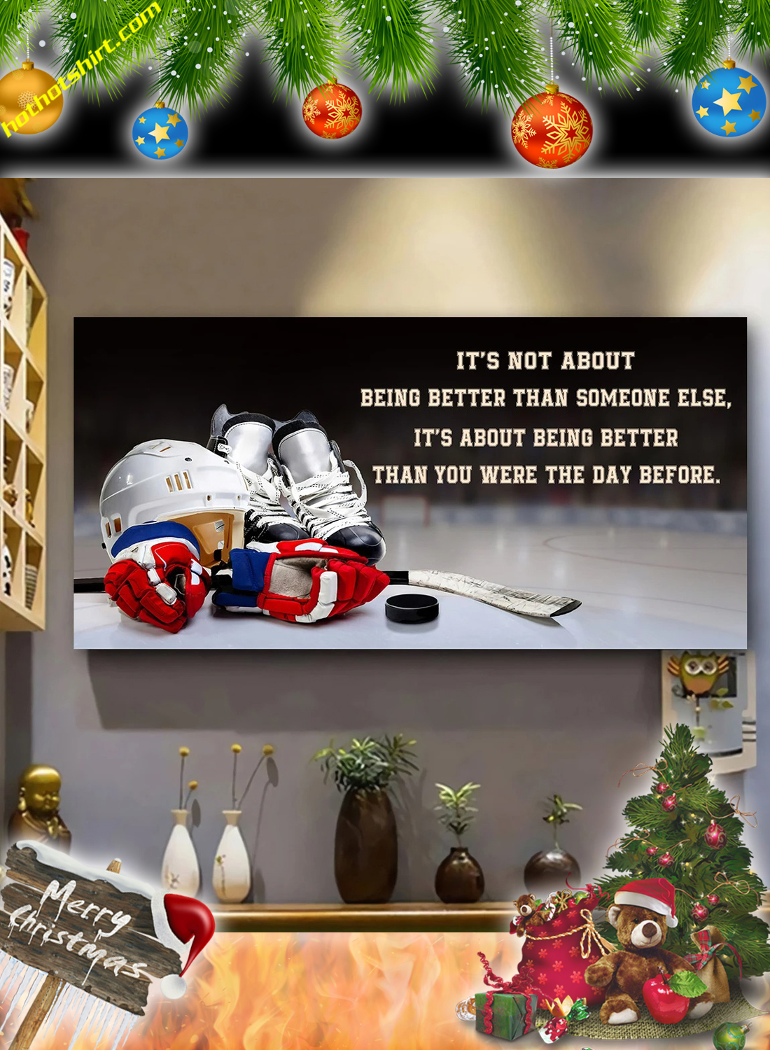 Hockey It's not about being better than someone else poster and canvas