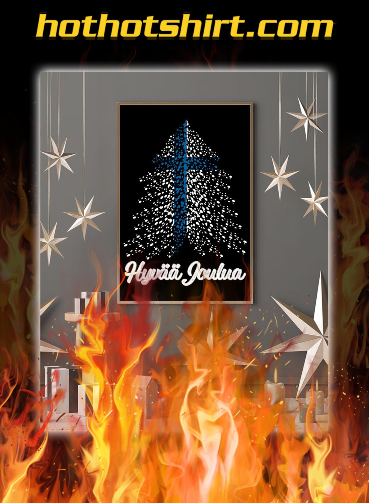 Hyvaa joulua finland flag poster- A2