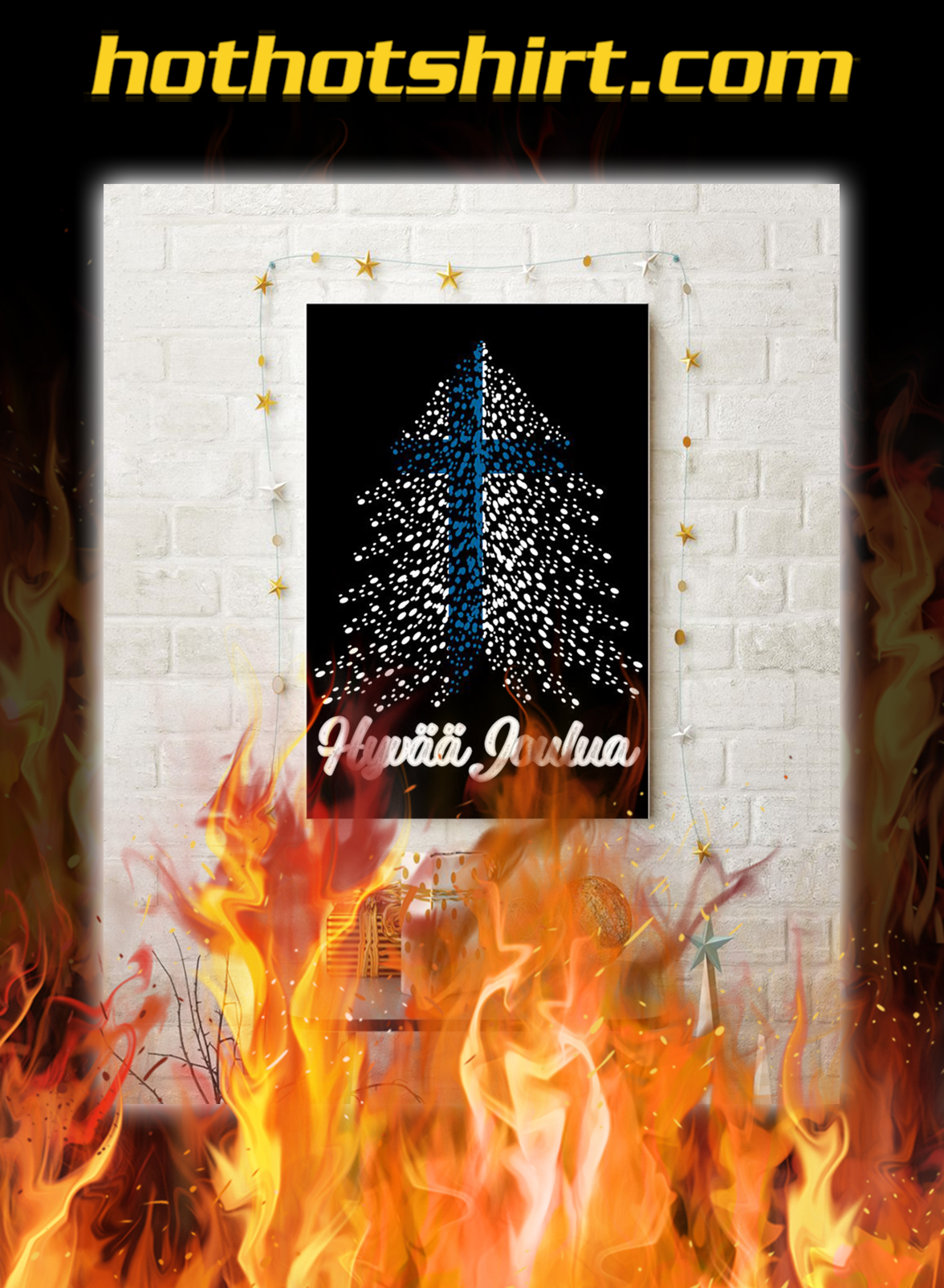 Hyvaa joulua finland flag poster- A3