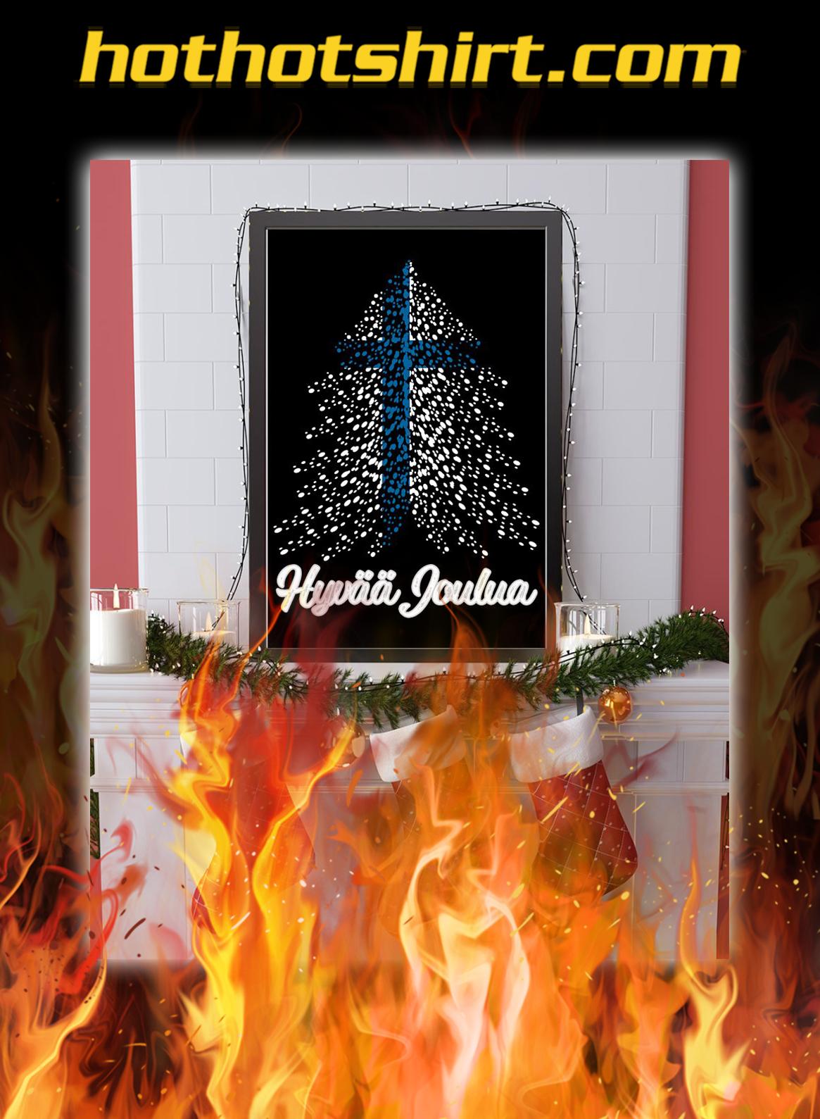 Hyvaa joulua finland flag poster- A4