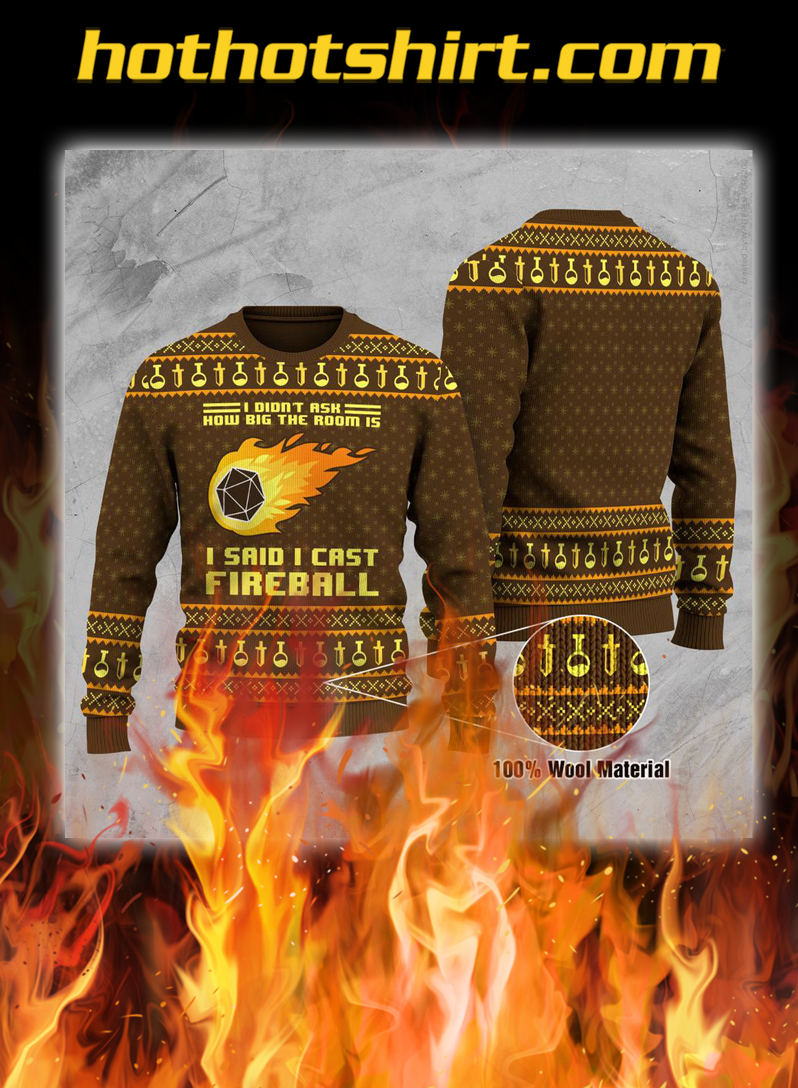 I didn't ask how big the room is i said i cast fireball ugly christmas sweater and jumper- pic 1
