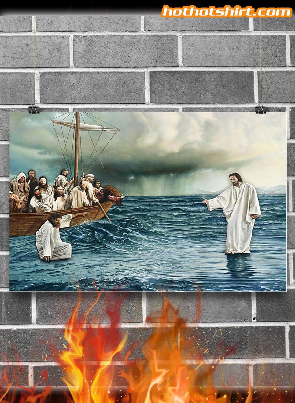 Jesus christ walking on water poster 1