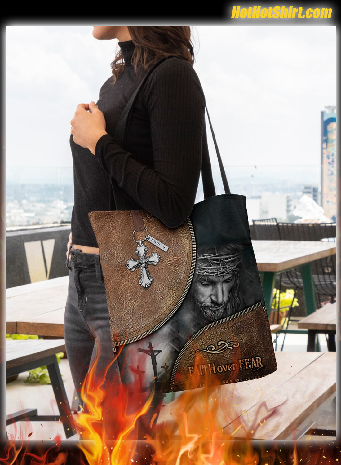 Jesus faith over fear tote bag 1