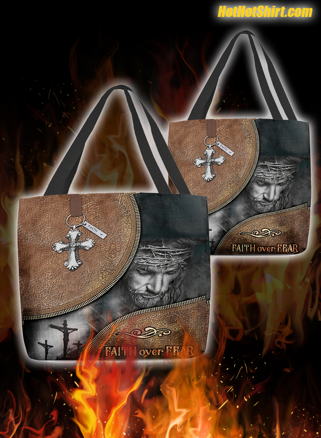 Jesus faith over fear tote bag 3