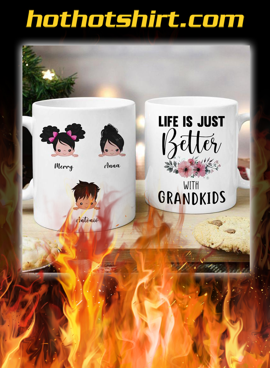 Life is just better with grandkids personalize custom name mug- pic 1