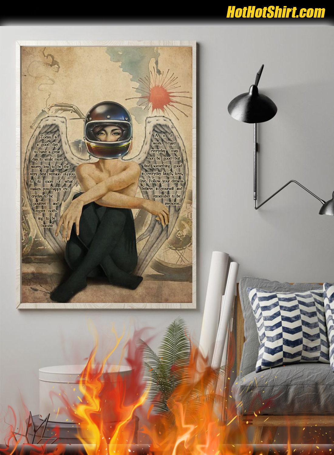 Motorcycle Angel Girl Today Is A Good Day Poster 1