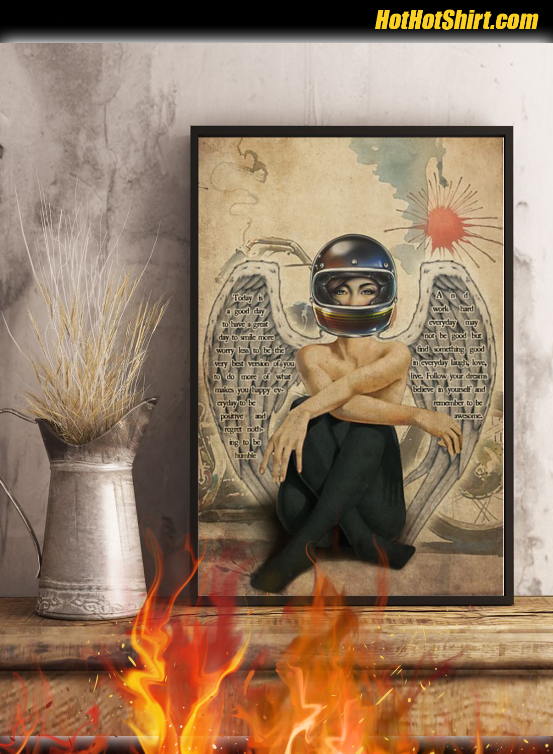 Motorcycle Angel Girl Today Is A Good Day Poster 3