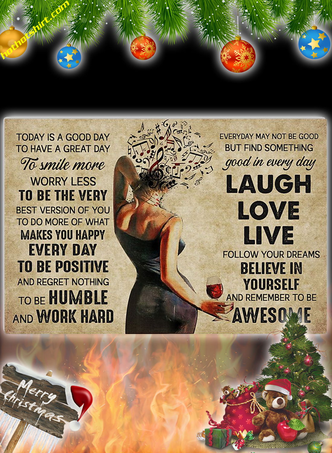 Music wine girl Today is a good day poster 2