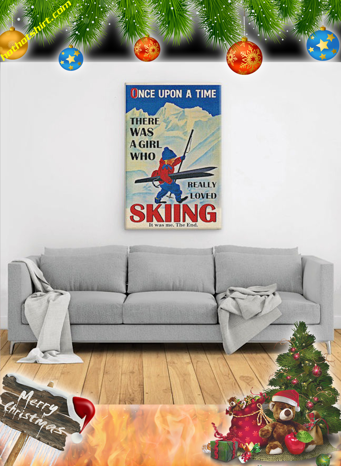 Once upon a time there was a girl who really loved skiing it was me the end canvas print and poster 3