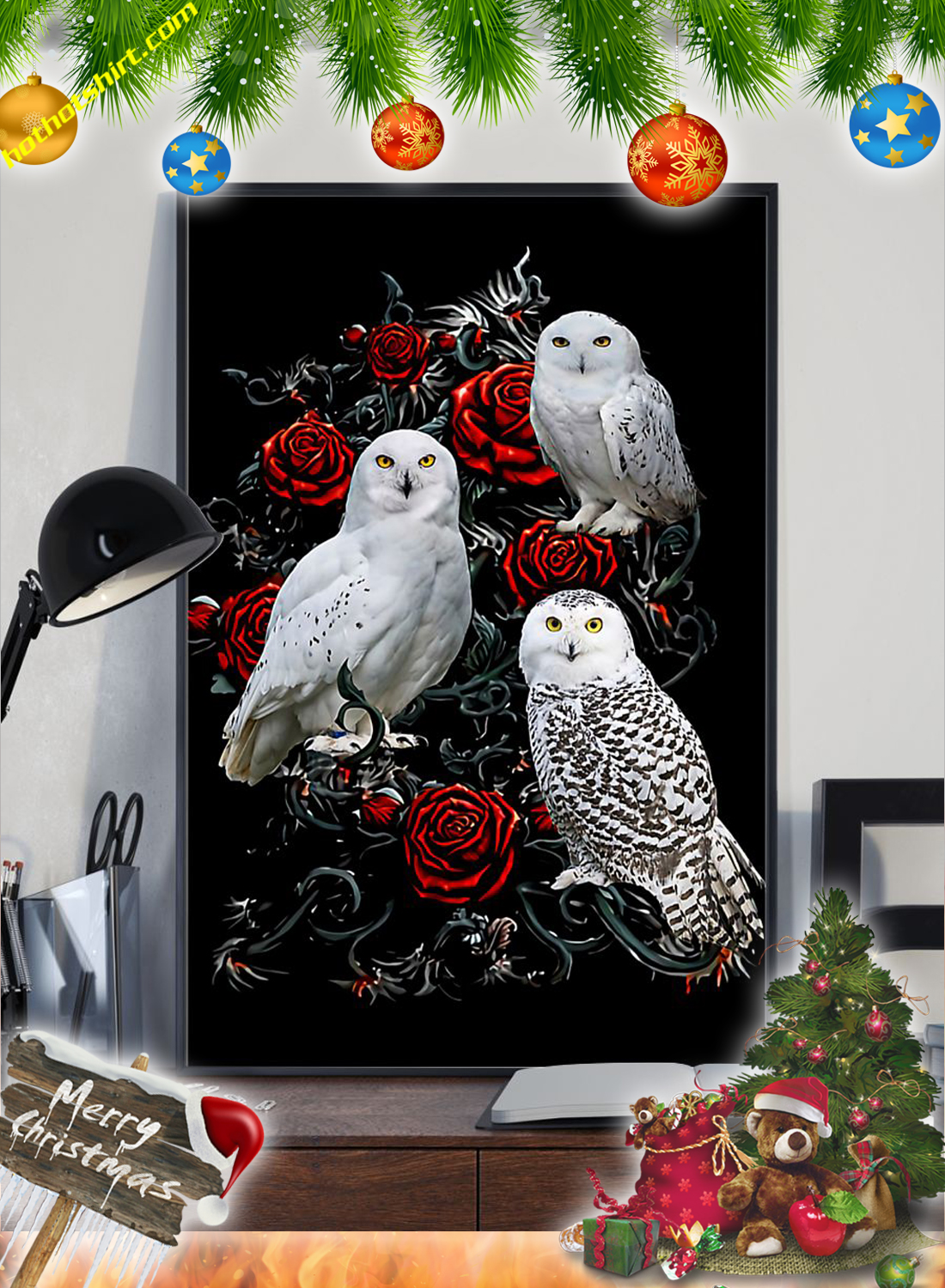Owls and roses poster 1