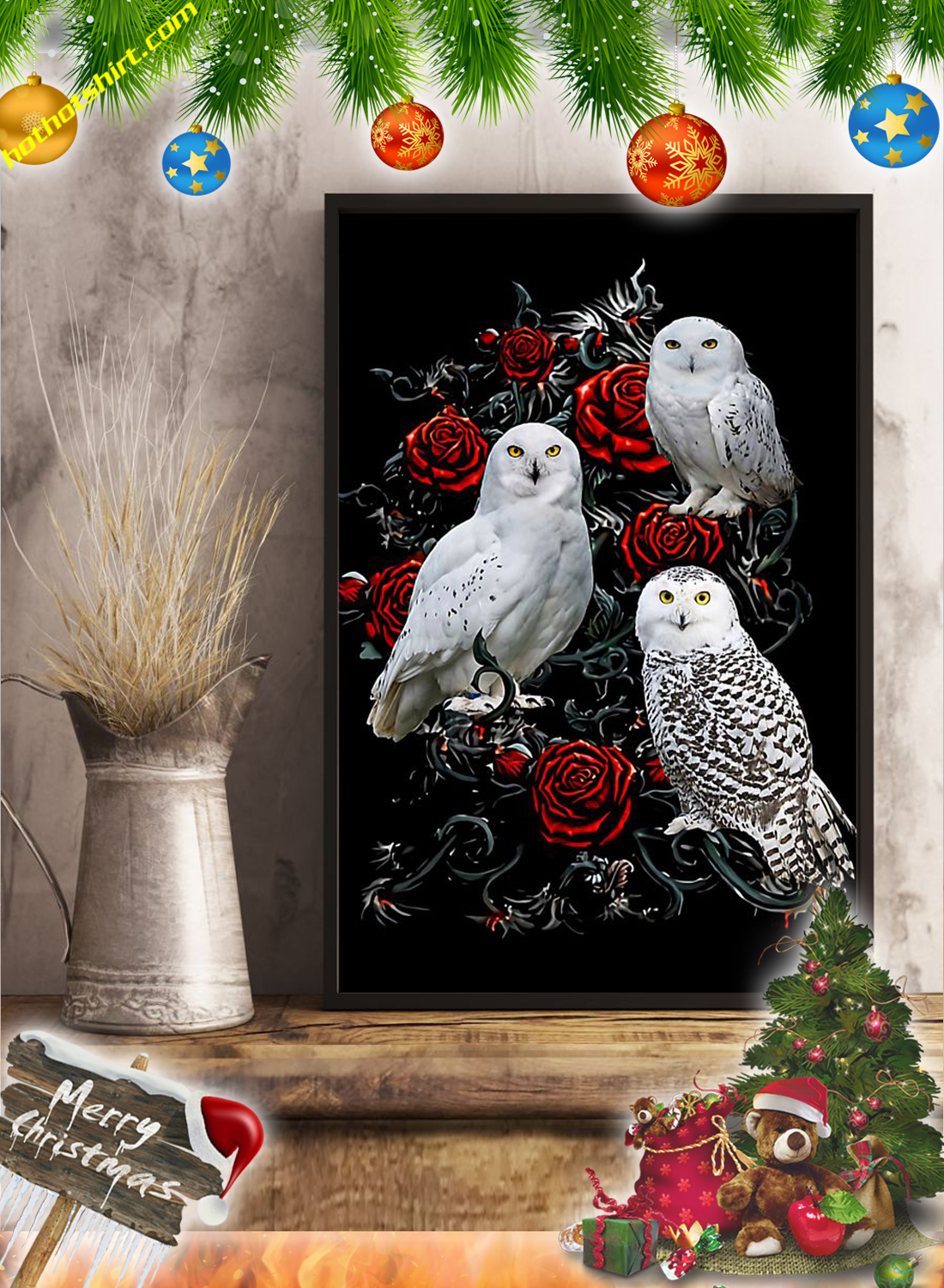 Owls and roses poster 2