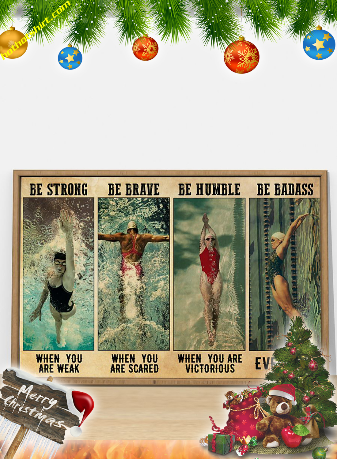 POSTER SWIMMING Be strong be brave be humble be badass 3