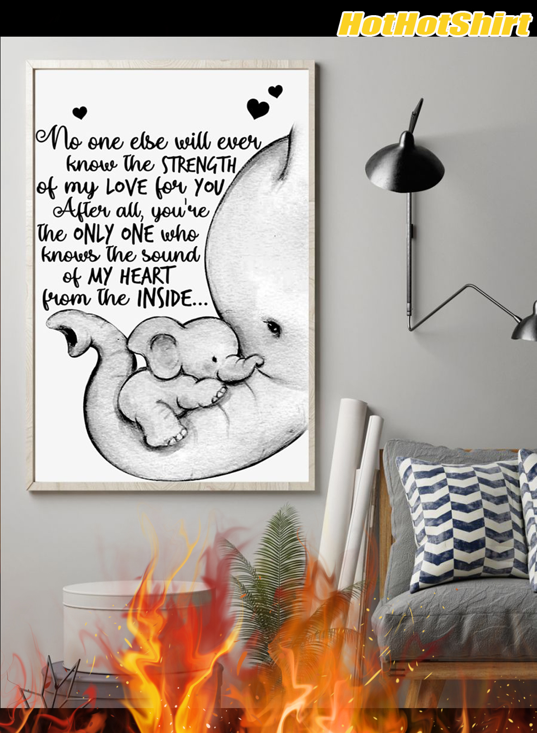 Personalized Custom Name Baby Elephant No One Else Will Ever Know The Strength Of My Love Poster 1