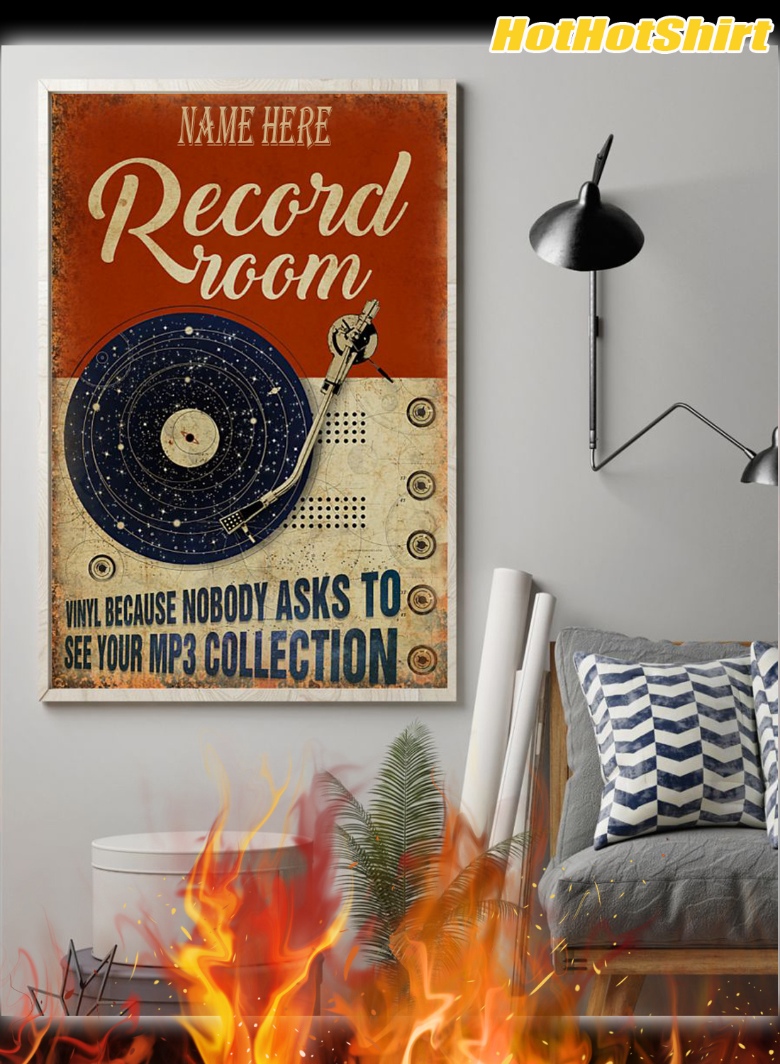 Personalized Custom Name Record Room Because Nobody Asks To See Your Mp3 Collection Poster 1