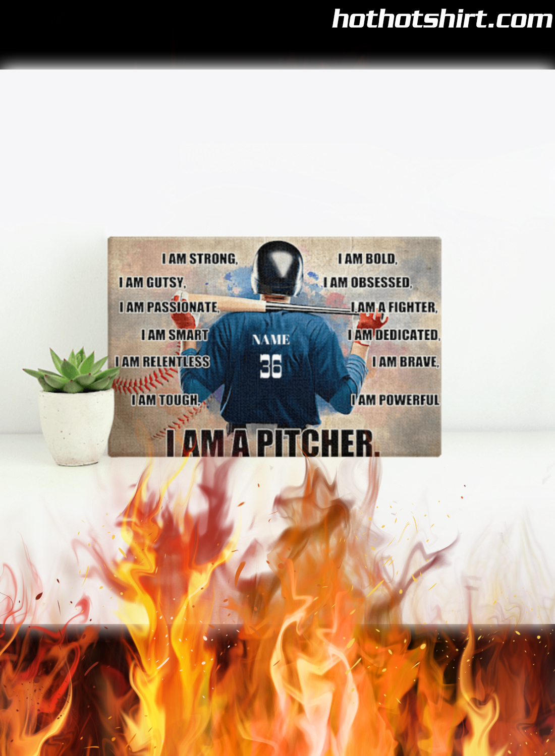 Personalized Custom Text Baseball I Am Strong I Am A Pitcher Poster 1