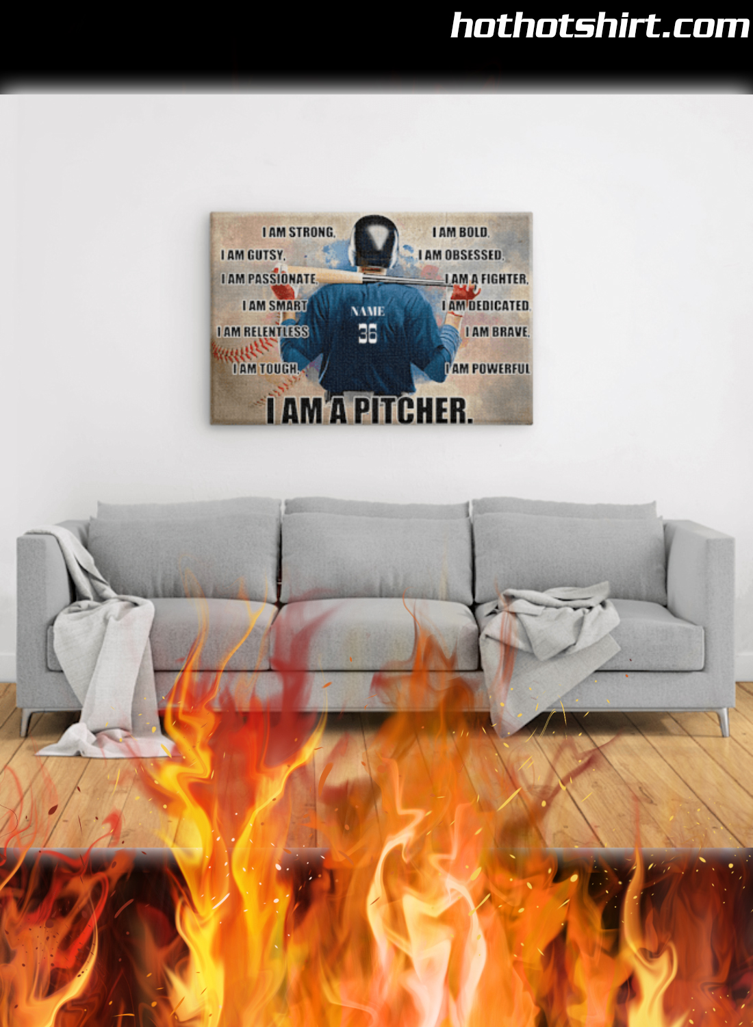 Personalized Custom Text Baseball I Am Strong I Am A Pitcher Poster 3