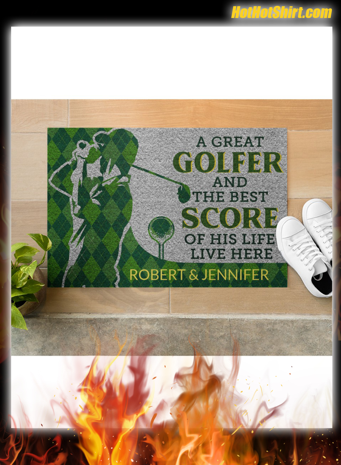 Personalized Name A Great Golfer And The Best Score Of His Life Live Here Doormat 2