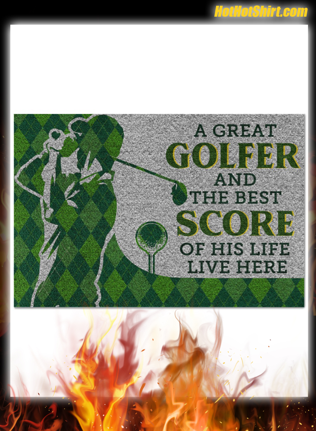 Personalized Name A Great Golfer And The Best Score Of His Life Live Here Doormat 3