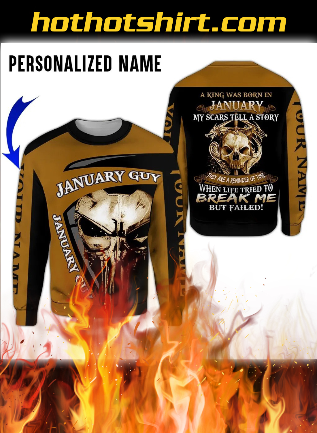 Personalized Name A King Was Born In January 3D All Over Printed Clothes 2