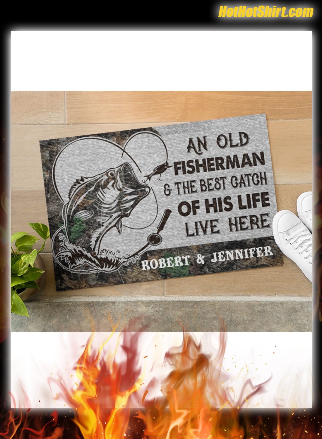 Personalized Name An Old Fisherman And The Best Catch Of His Life Here Doormat 1