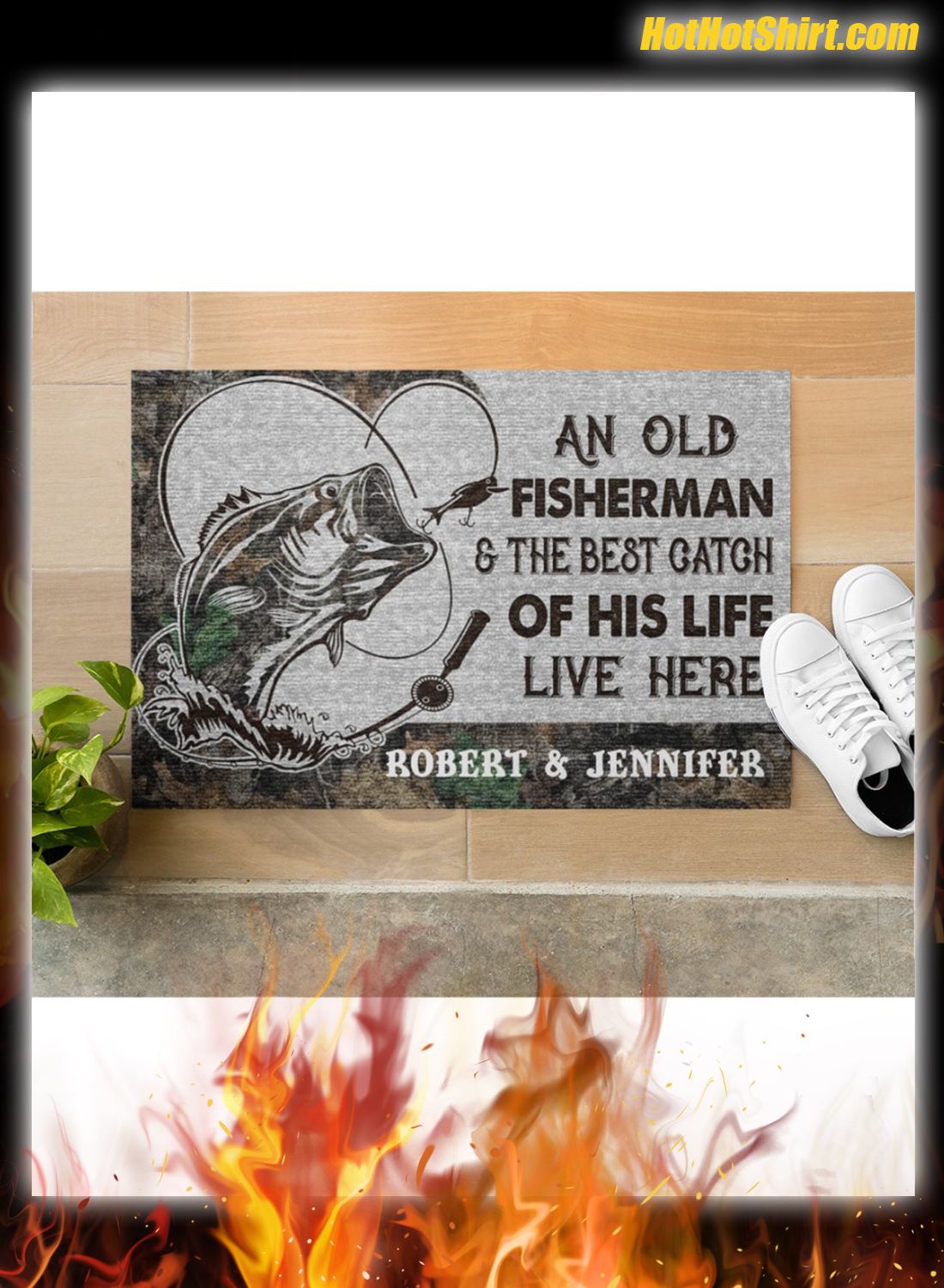 Personalized Name An Old Fisherman And The Best Catch Of His Life Here Doormat 2