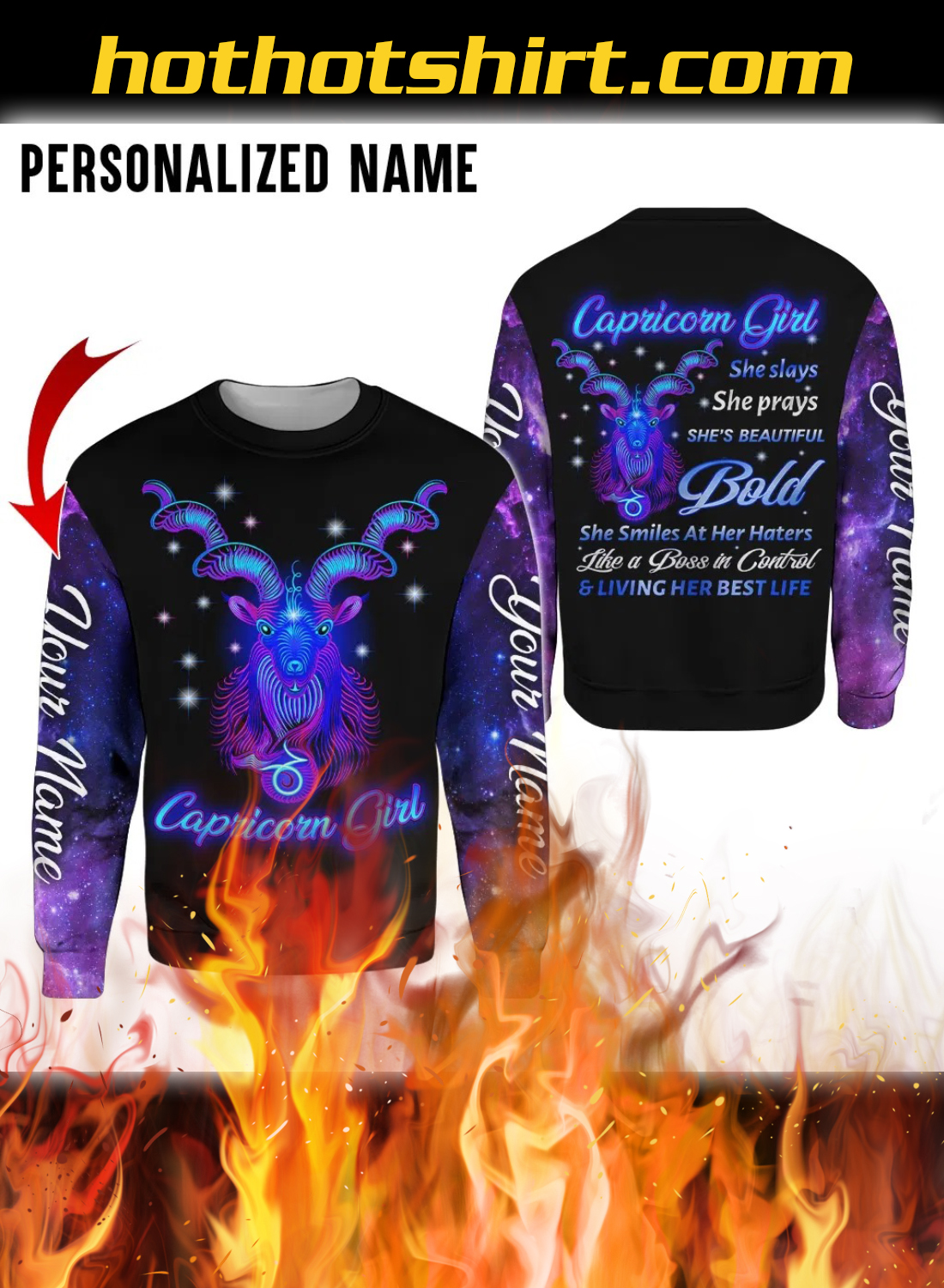 Personalized Name Capricorn Girl 3D All Over Printed Hoodie 2
