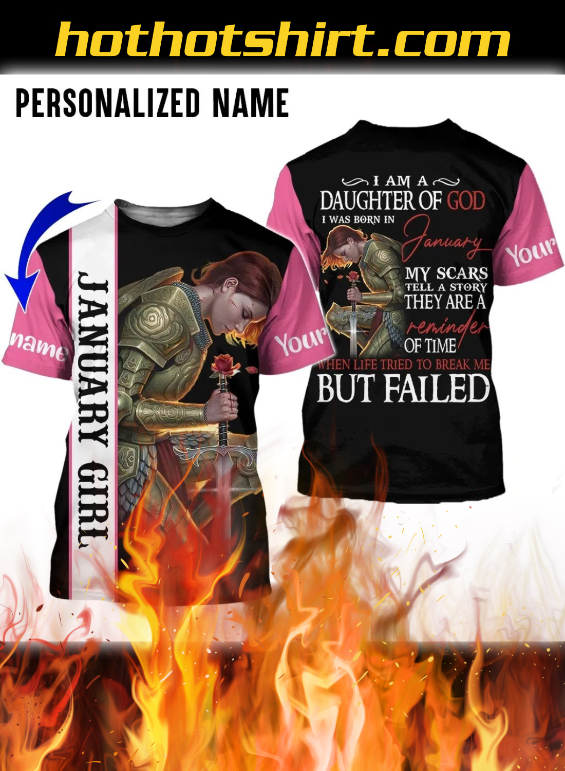 Personalized Name I Am A Daughter Of God I Was Born In January 3D All Over Printed Clothes 3