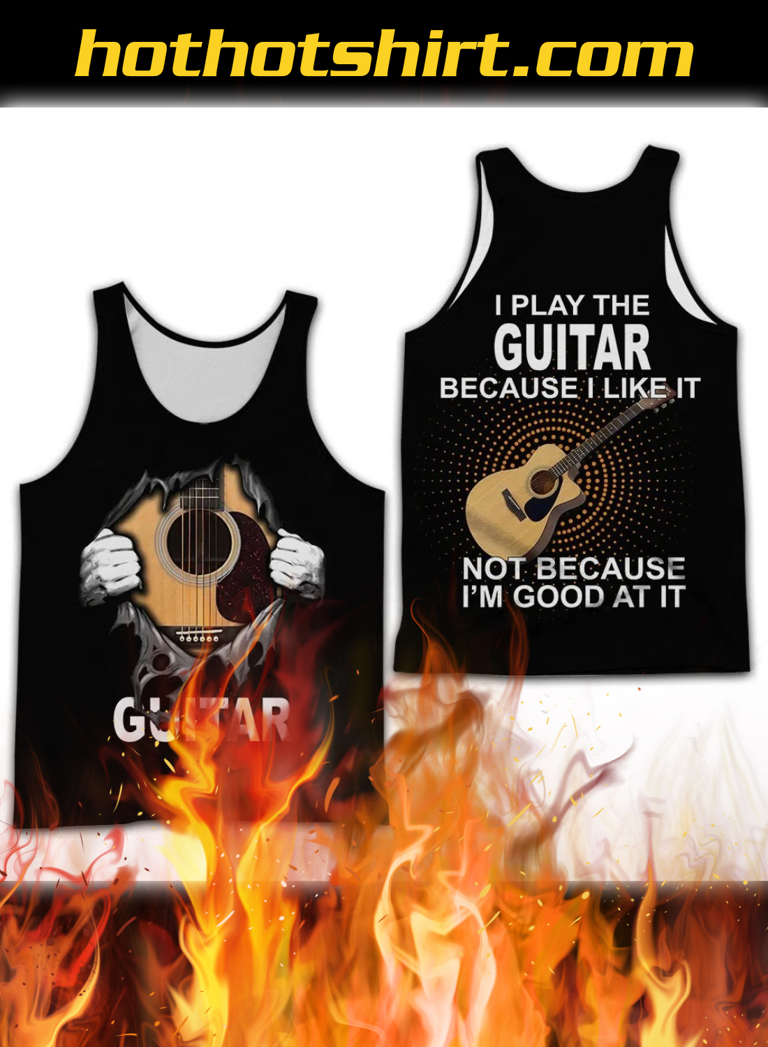 Personalized Name I Play Guitar Because I Like It 3D All Over Printed Clothes 3