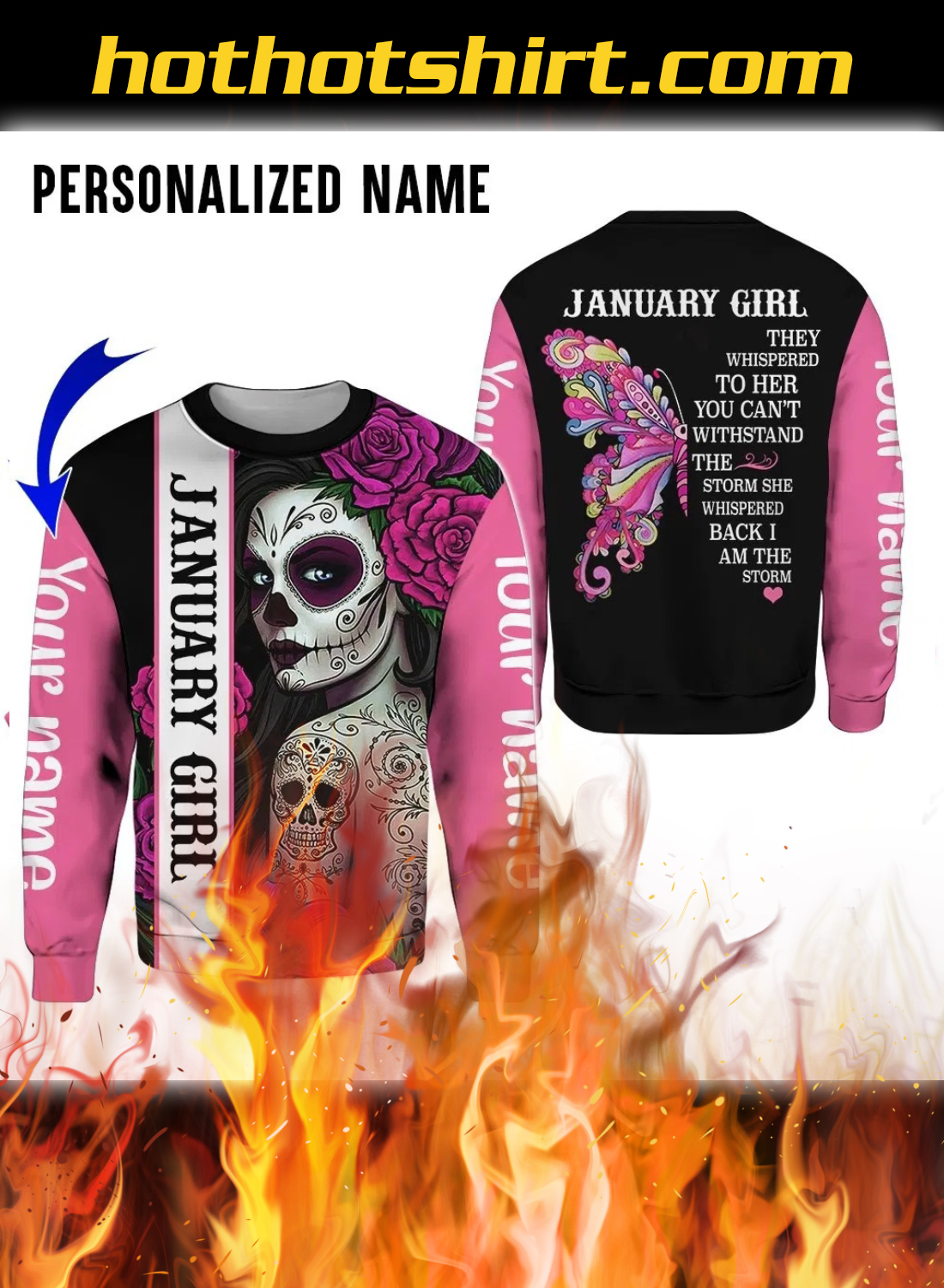 Personalized Name Sugar Skull January Girl 3D All Over Printed Hoodie And Legging 3
