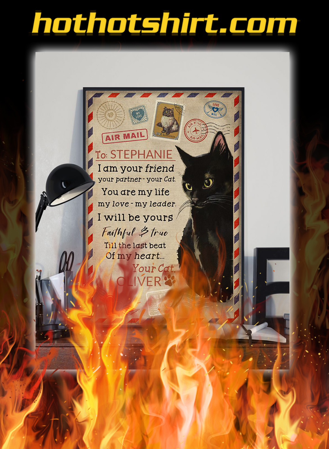 Personalized custom name black cat I am your poster- A3