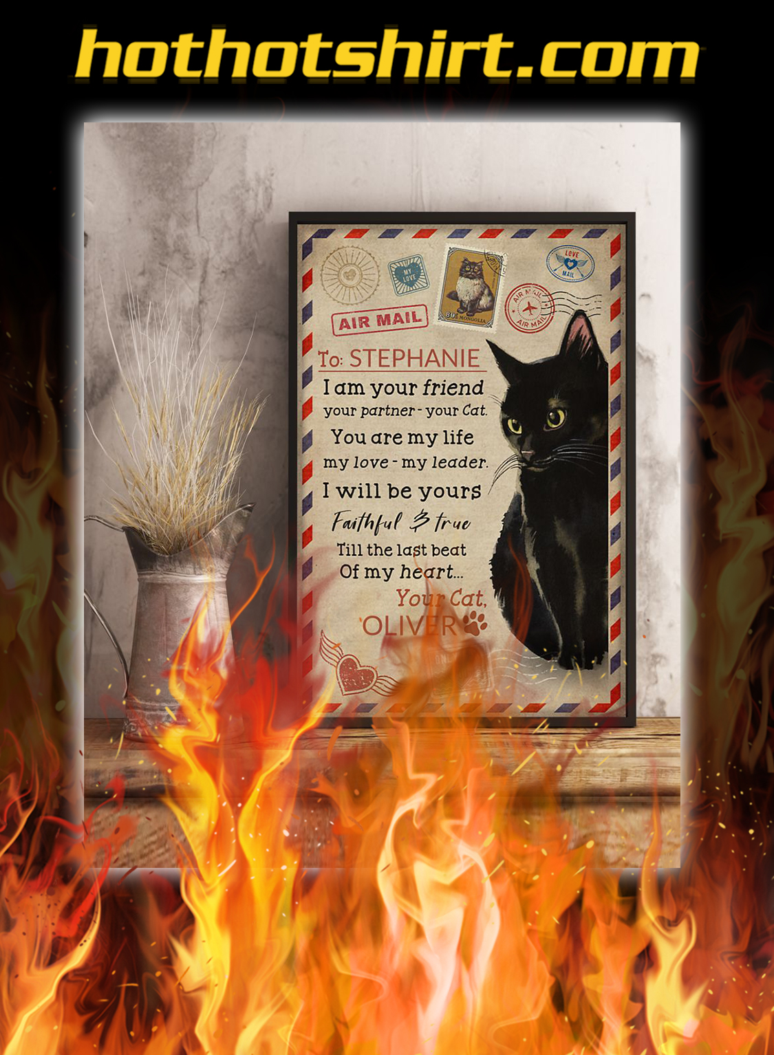Personalized custom name black cat I am your poster- A4