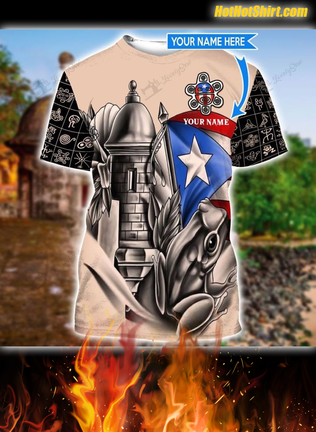 Personalizied Custom Name Sol Taino 3D All Over Printed Hoodie 3