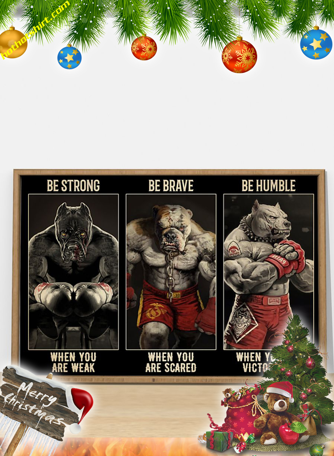 Pitbull Boxing Be strong be brave be humble poster 1