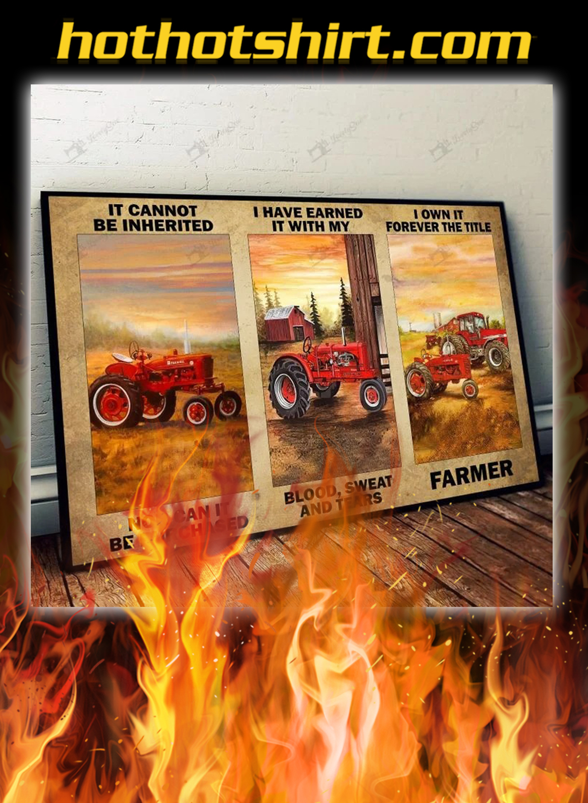 Red tractor It cannot be inherited poster- A3