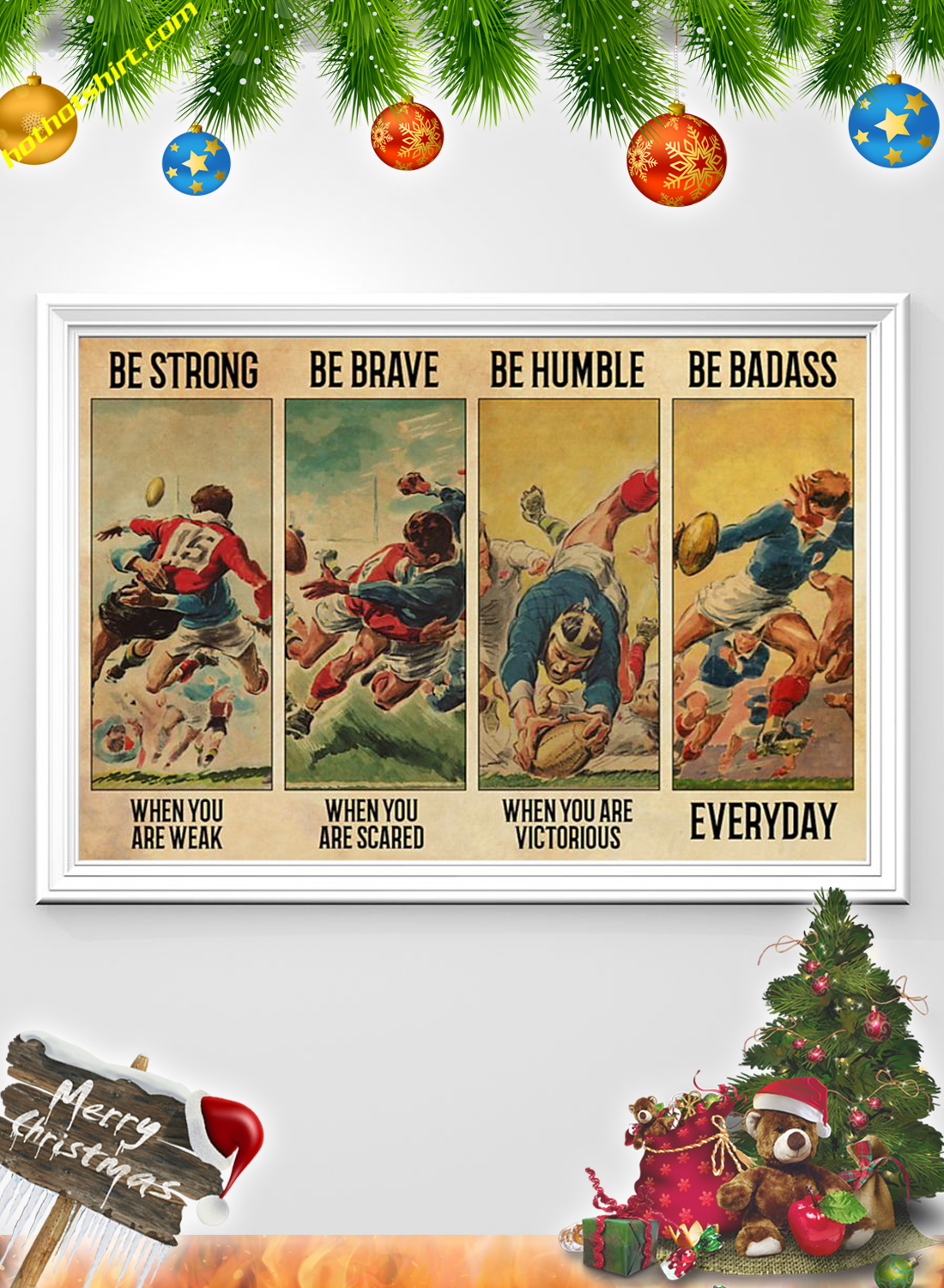 Rugby Be strong be brave be humble be badass poster 1