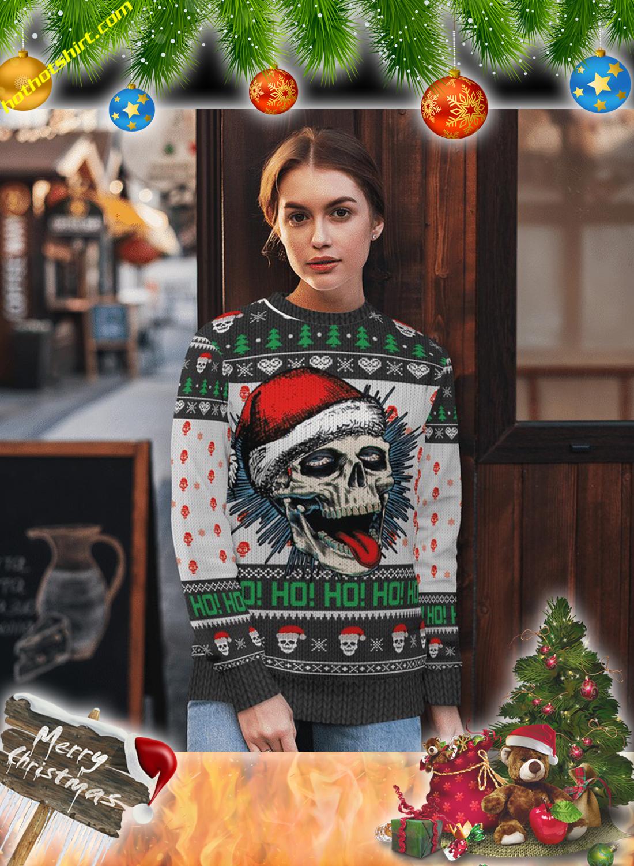 Santa skull ho ho ugly sweater and 3d hoodie 2