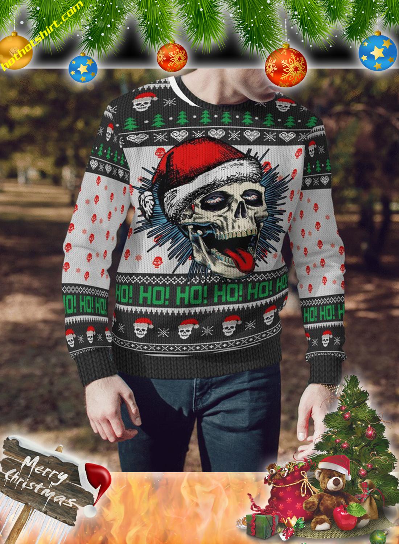 Santa skull ho ho ugly sweater and 3d hoodie 3