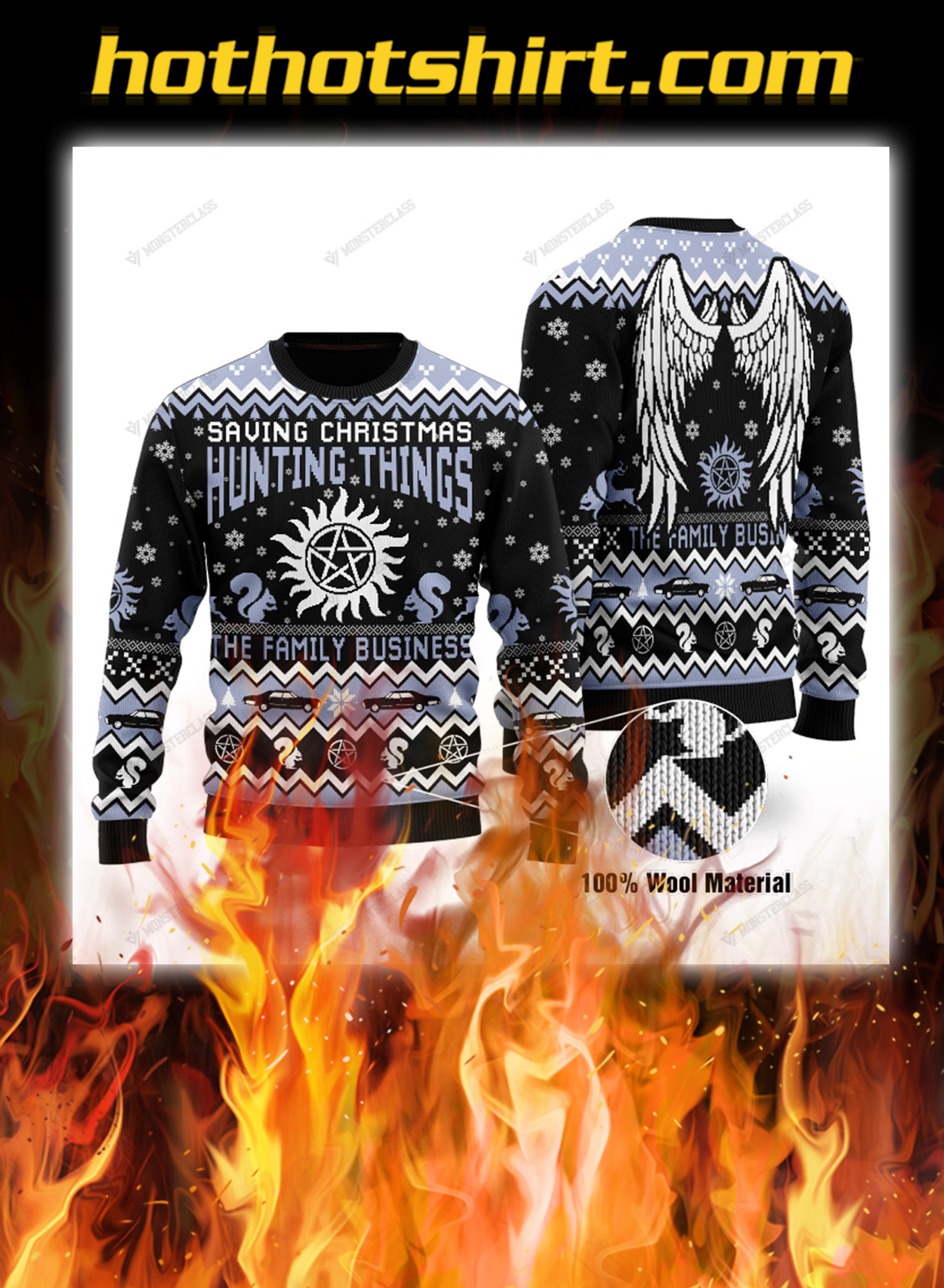 Saving christmas hunting things the family business ugly sweater- pic 1
