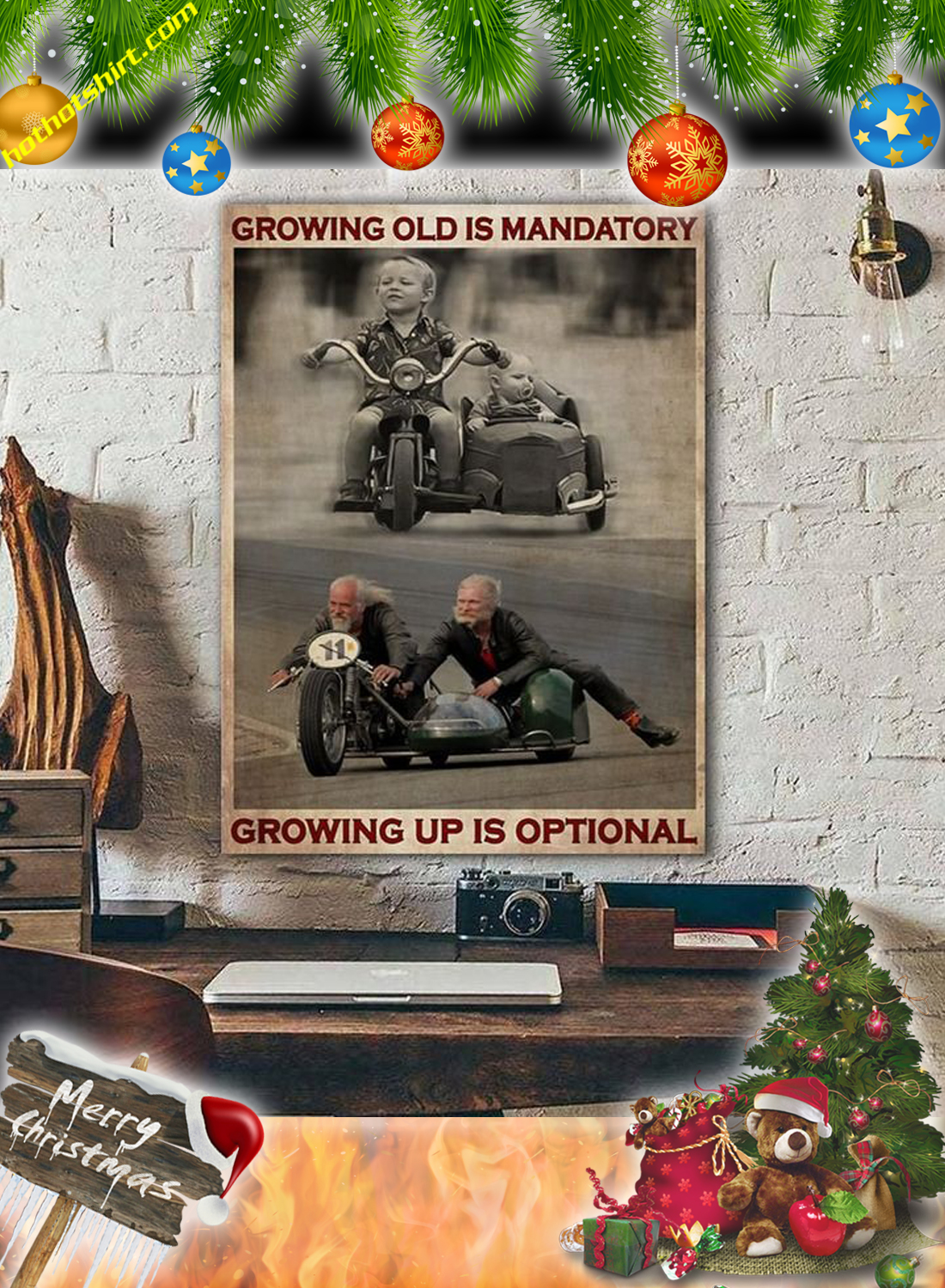 Sidecar growing old is mandatory growing up is optional canvas prints 2