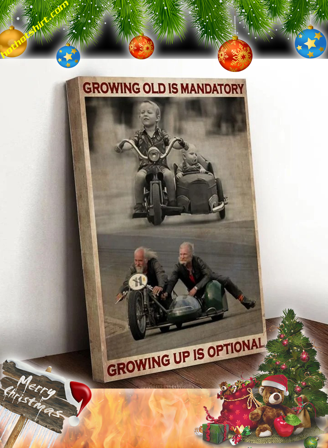 Sidecar growing old is mandatory growing up is optional canvas prints 3