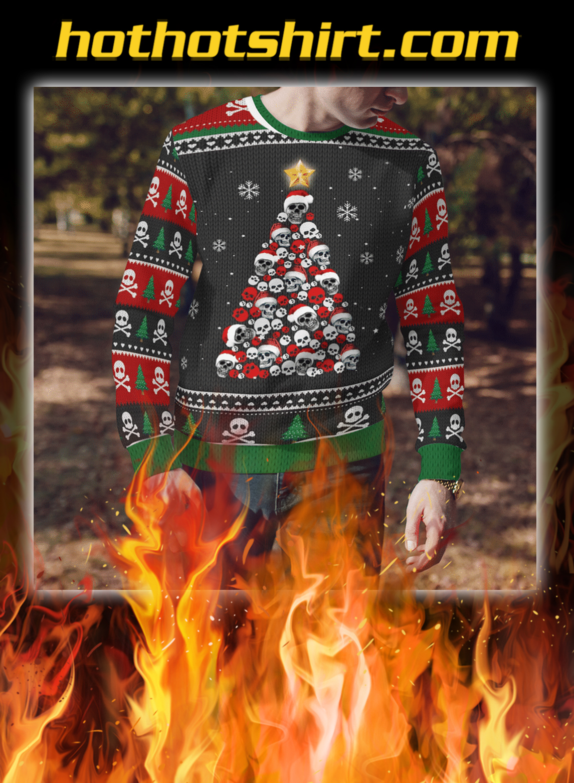 Skull christmas tree 3d sweater- pic 1