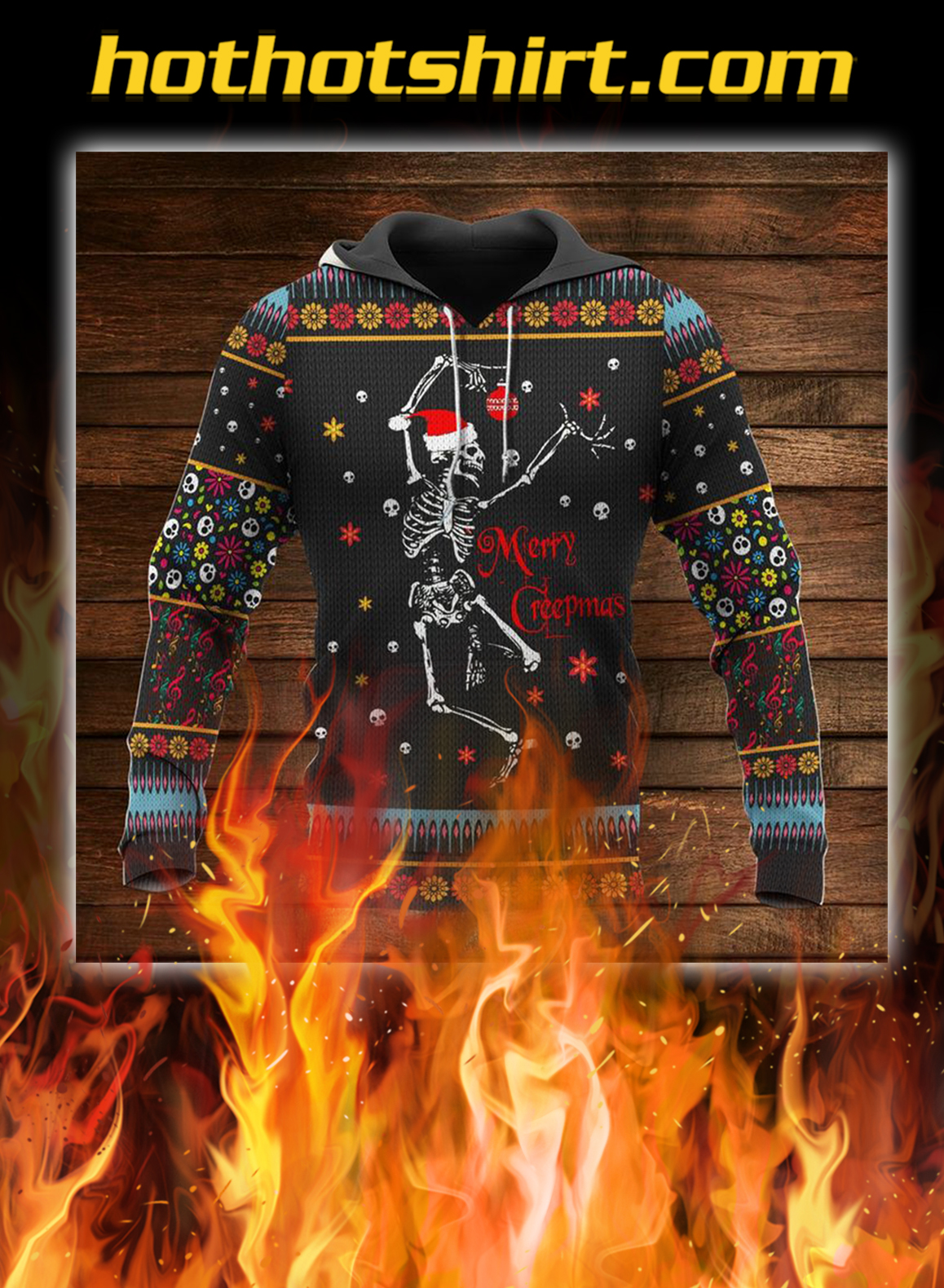 Skull skeleton merry crepmas christmas hoodie