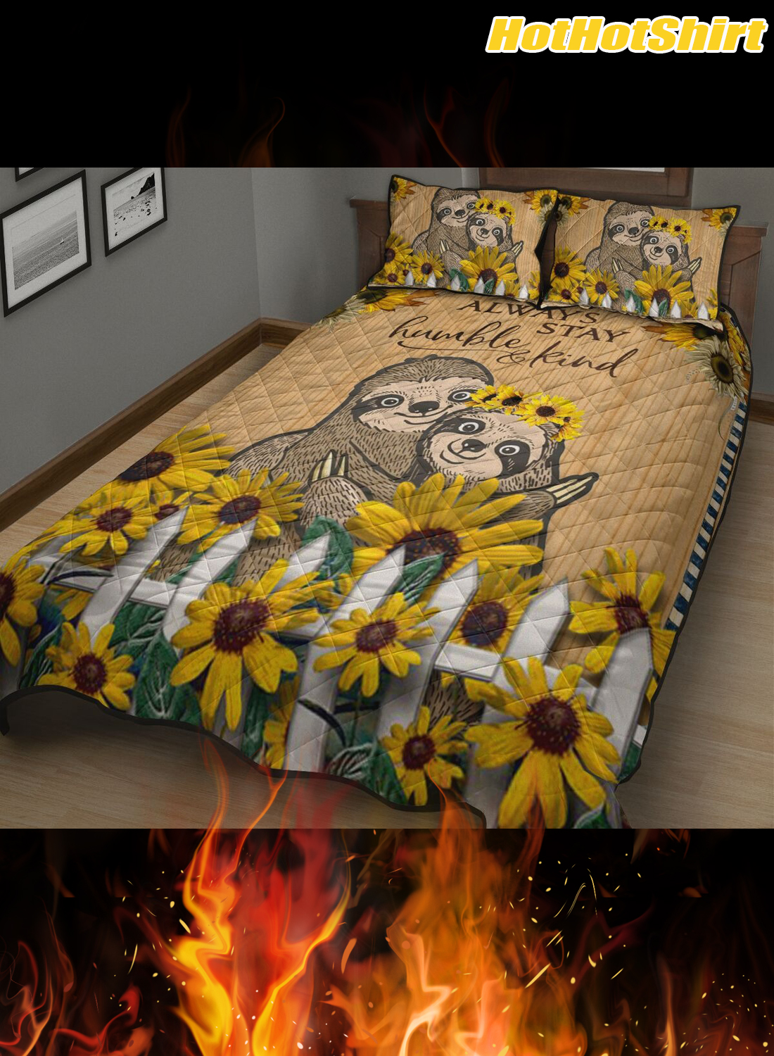 Sloth Always Stay Humble And Kind Bedding Set 1