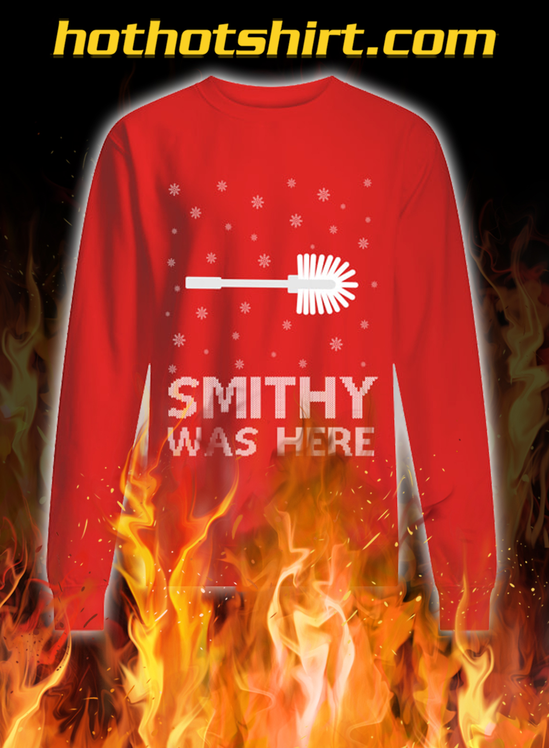 Smithy was here ugly christmas sweater- red