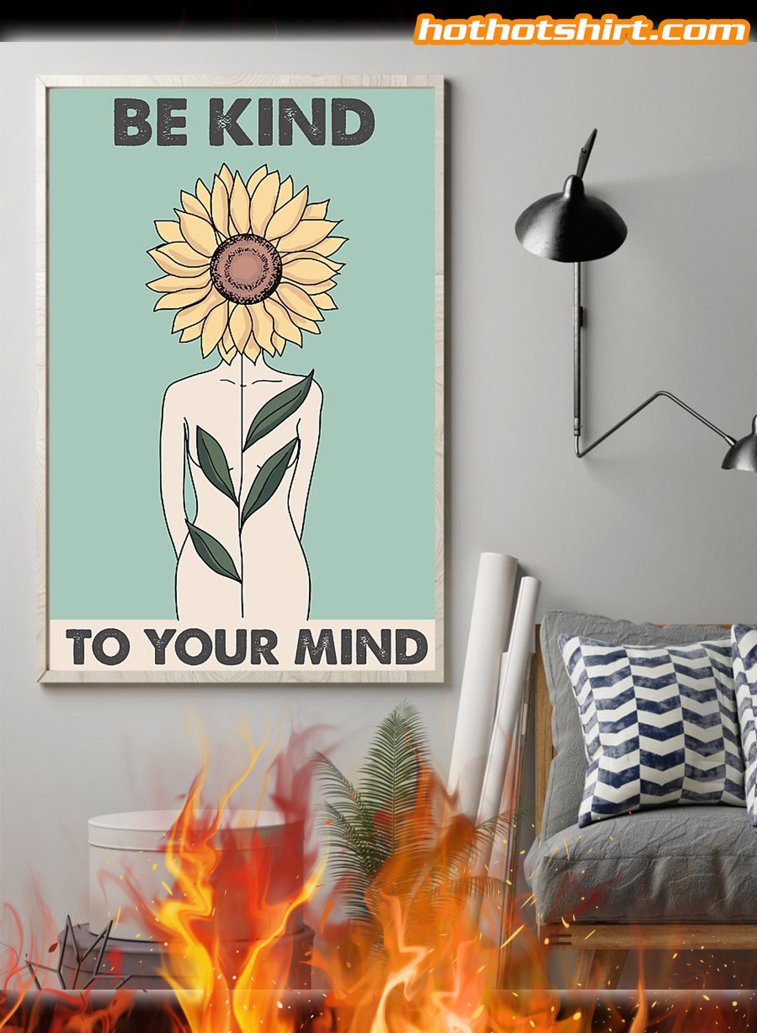 Sunflower Be kind to your mind poster 1