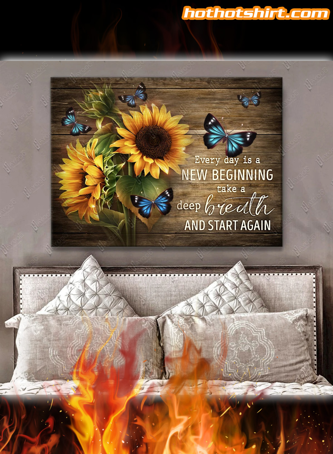 Sunflowers And Butterflies Every day is a new beginning take a deep breath and start again canvas prints and poster 1