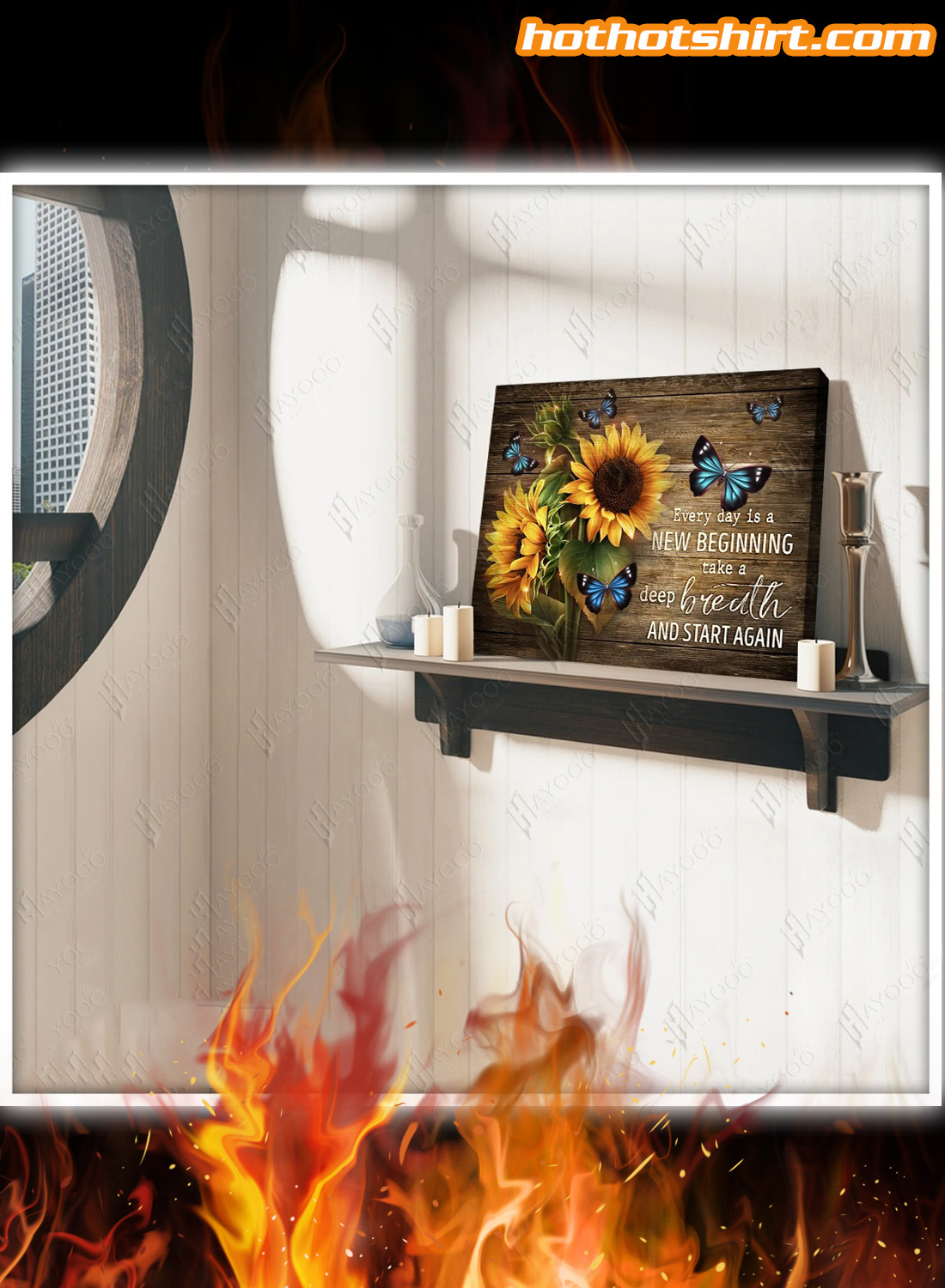 Sunflowers And Butterflies Every day is a new beginning take a deep breath and start again canvas prints and poster 2